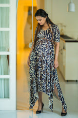 Printed Asymmetrical Maternity Maxi Dress