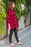 Classic Red Check Gathered Maternity & Nursing Top - MOMZJOY.COM