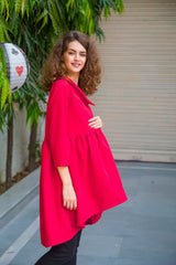 Candy Red Gathered Maternity & Nursing Top - MOMZJOY.COM