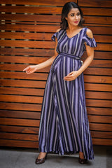 Exclusive Stripe Violet Maternity & Nursing Maxi Dress