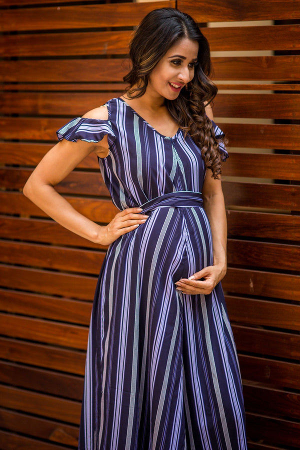 Exclusive Stripe Violet Maternity & Nursing Maxi Dress - MOMZJOY.COM