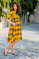 Yellow Chestnut Plaid Maternity & Nursing Dress