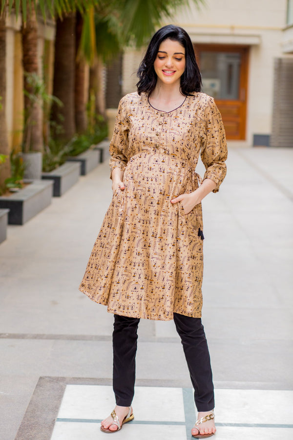 Beige Worli Maternity & Nursing Side Tie Kurta Dress - MOMZJOY.COM