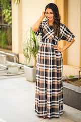 Royal Chocolate Brown Plaid Maternity & Nursing Maxi