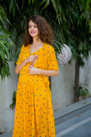 Sunrise Polka Maternity & Nursing Wrap Midi Dress - MOMZJOY.COM