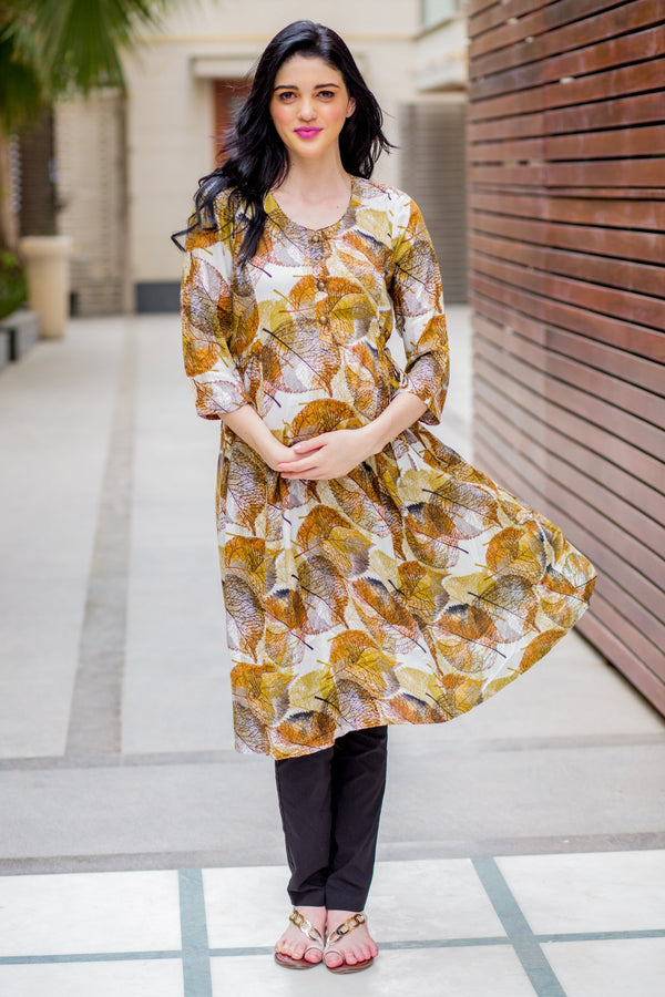 Cinnamon Leafy Maternity & Nursing Side Tie Kurta Dress - MOMZJOY.COM