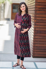 Earthy Striped Maternity & Nursing Kurta - MOMZJOY.COM