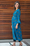 Teal Boho Maternity & Nursing Dress - MOMZJOY.COM