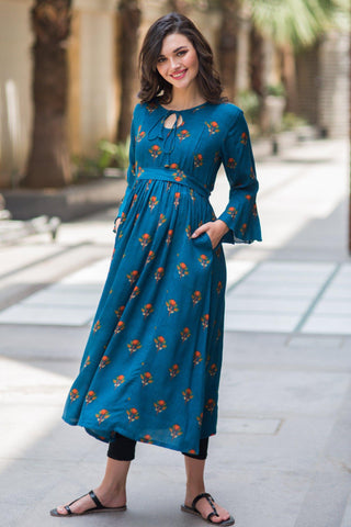 Teal Boho Maternity & Nursing Dress