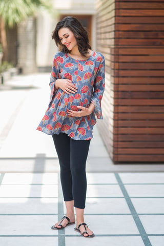 Orchid Gathered Nursing Top
