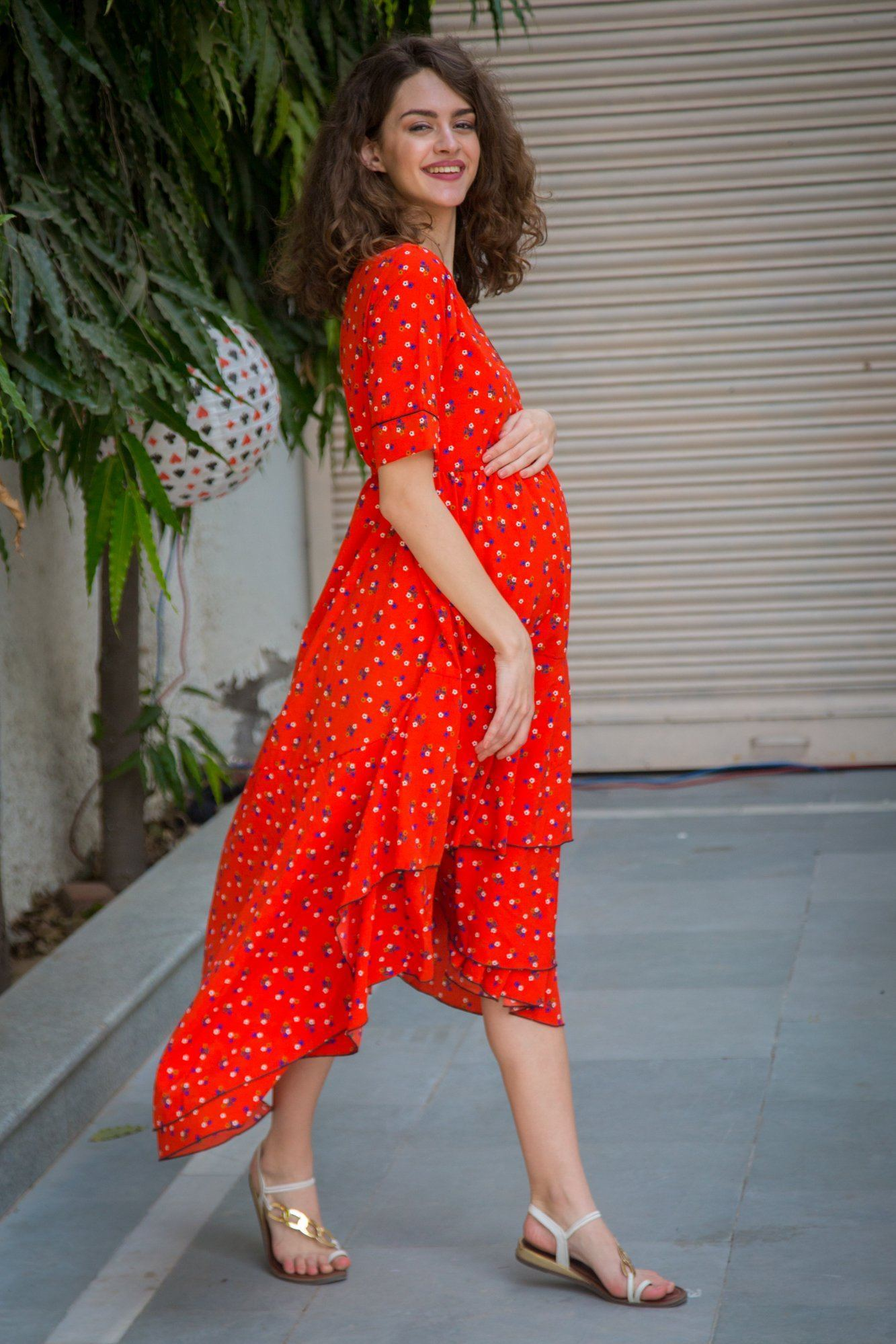 Tangerine Floral Maternity & Nursing Flair Dress