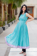 Sea Green Patterned Maternity & Nursing Kurta