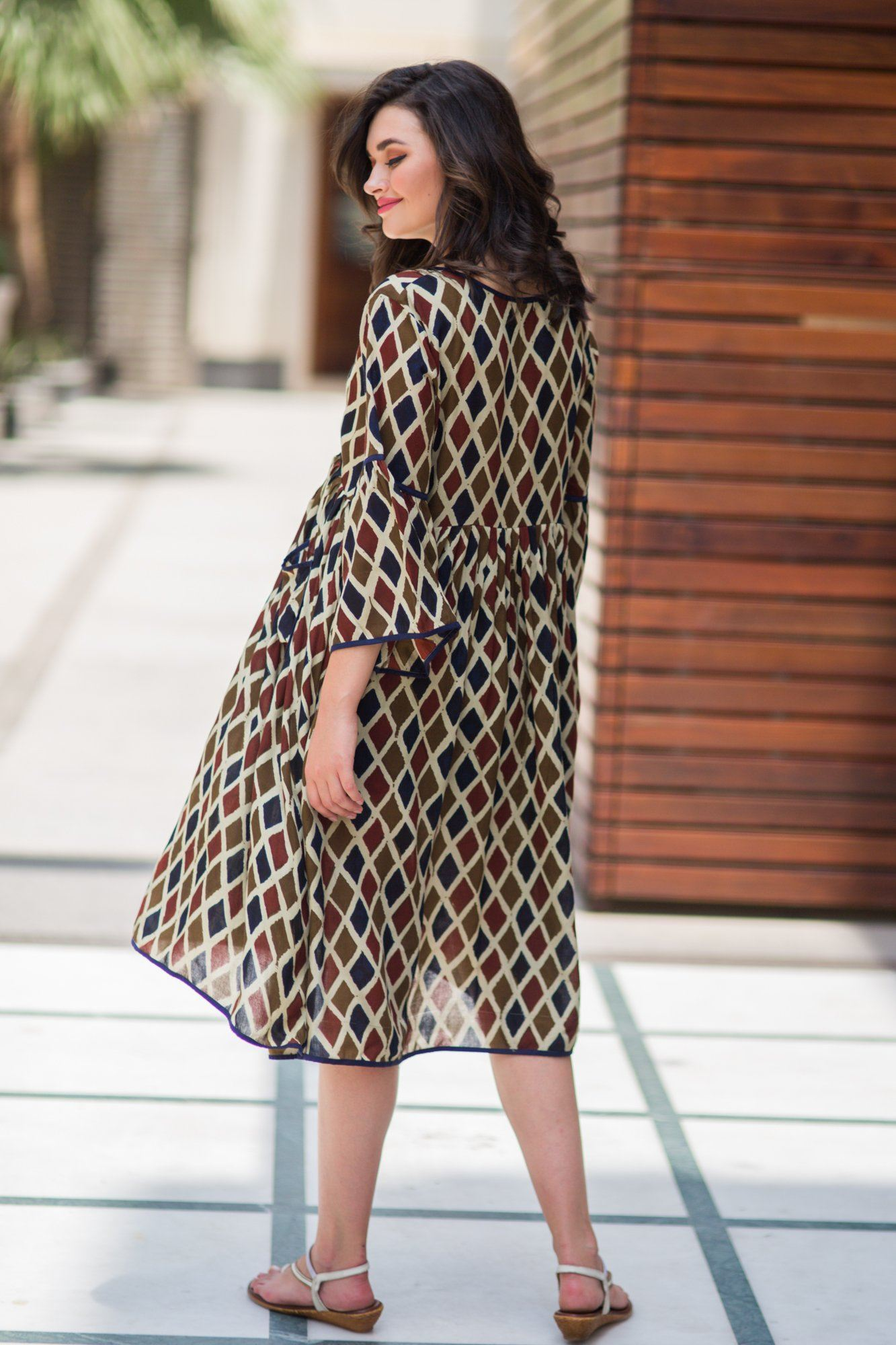 Rhombus Boho Maternity & Nursing Dress