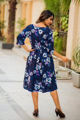 Ocean Blue Floral Print Pocket Versatile Maternity Dress