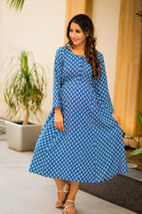 Royal Blue Block Print Maternity & Nursing Kurta