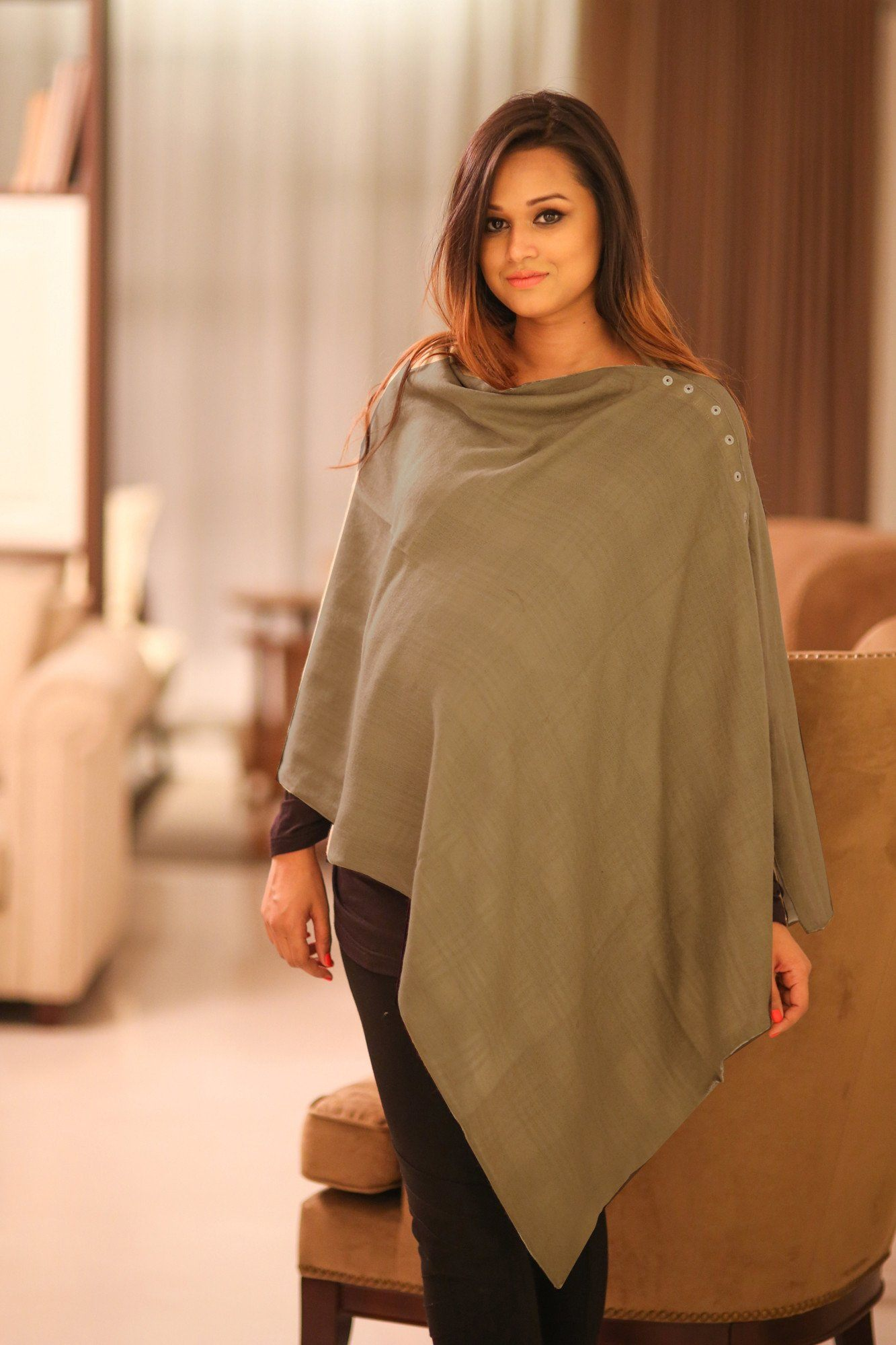 2 in 1 Double Sided Luxe Cashfeel Silk Wool Nursing Stole