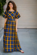 Classic Blue Mustard Plaid Maternity & Nursing Maxi Dress - MOMZJOY.COM