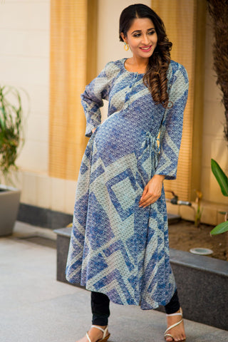 Royal Blue Grey Mosaic Print Nursing Kurta
