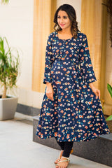 Twilight Blue Flower Print Maternity & Nursing Kurta