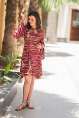 Berry Mesh Boho Maternity & Nursing Dress - MOMZJOY.COM