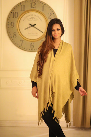 Luxe Lime Olive Handwoven Silk Poncho