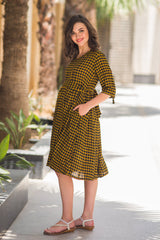 Chestnut Plaid Maternity & Nursing Dress - MOMZJOY.COM