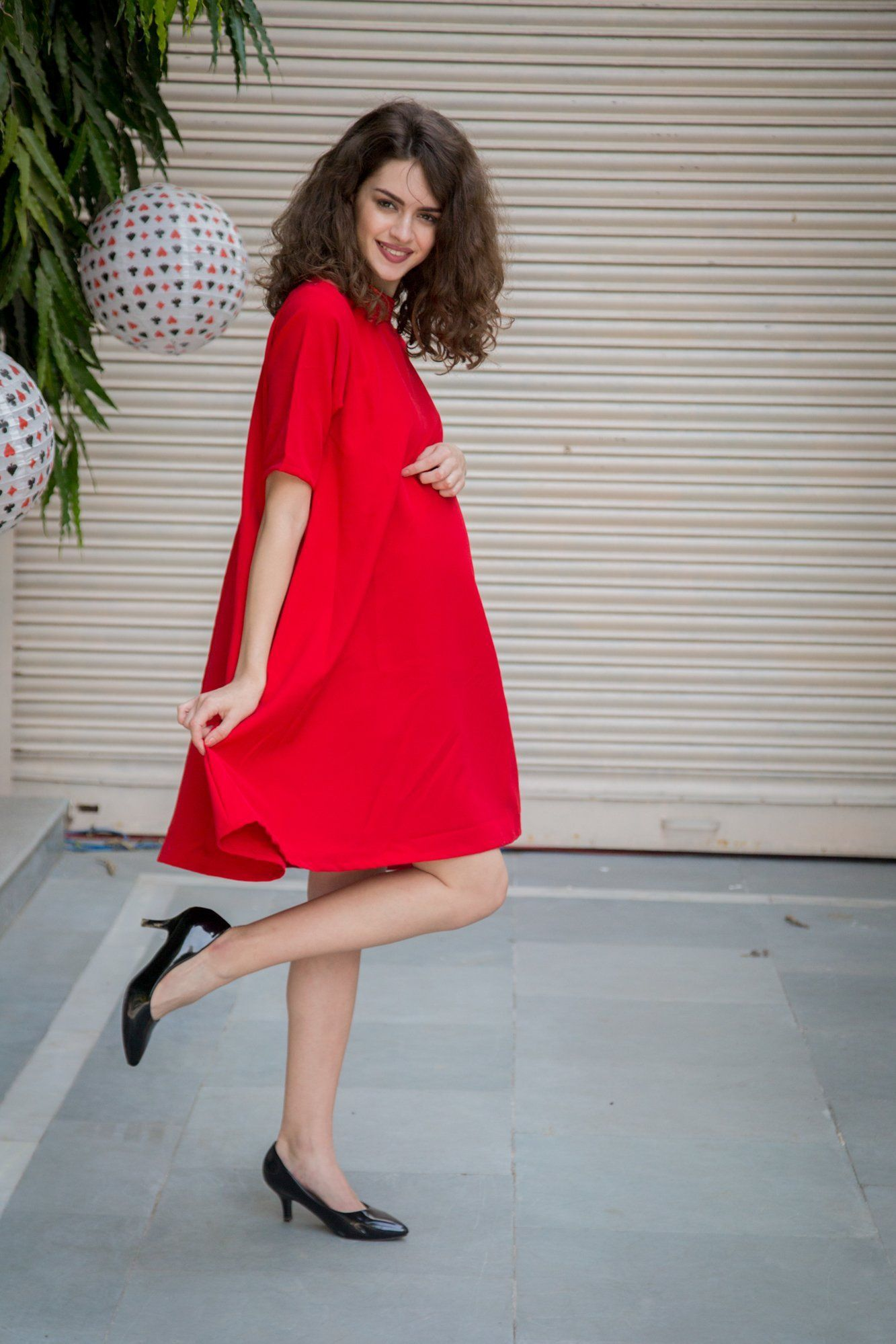 Luxe Berry Crepe Maternity Swing Dress