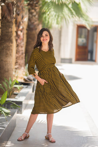 Chestnut Plaid Maternity & Nursing Dress
