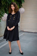 Royal Crepe Collared Nursing Dress