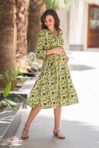 Forest Geo Maternity & Nursing Kurta Dress