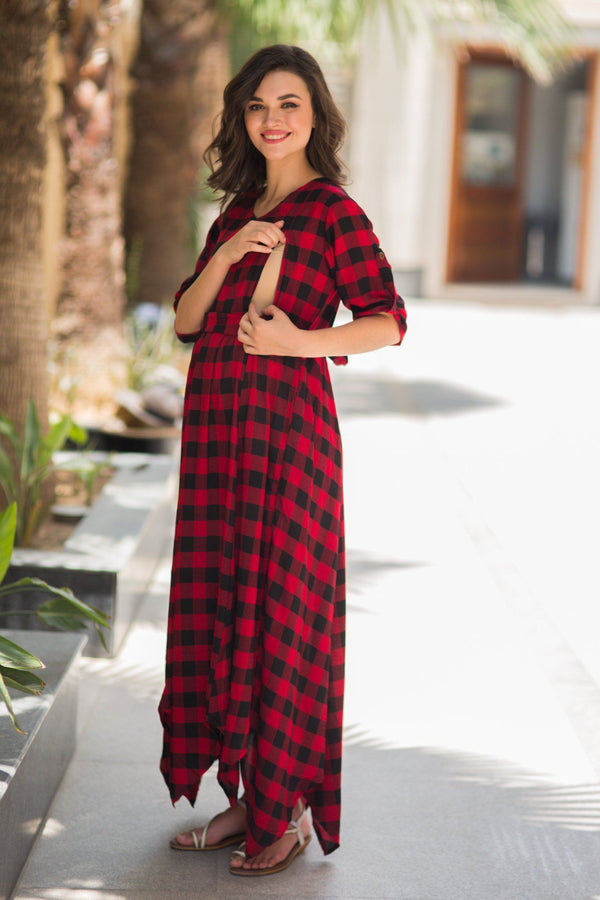Classic Ruby Red Plaid Maternity & Nursing Maxi - MOMZJOY.COM