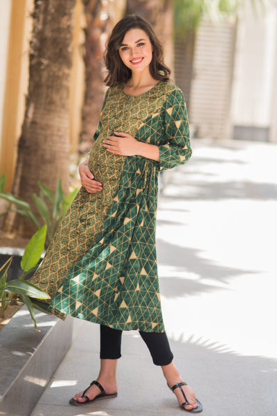 Cinnamon Green Maternity & Nursing Kurta - MOMZJOY.COM