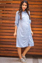 Denim Versatile Maternity & Nursing Shirt Dress