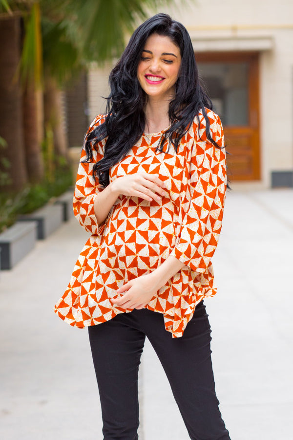 Rust Triangle Back Open Maternity Top - MOMZJOY.COM