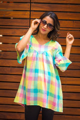 Multicolor Boho Check Front Zip Nursing Cotton Top