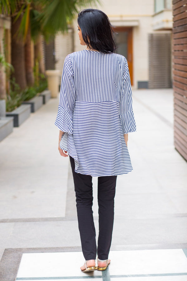 Navy Elegant Striped Nursing Top