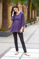 Blue Printed Pintucks Maternity & Nursing Concealed Zip Top - MOMZJOY.COM