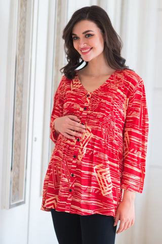 Ruby Coral Pintucks Maternity Top