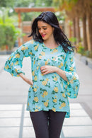 Mint Yellow Bloom Maternity Top - MOMZJOY.COM