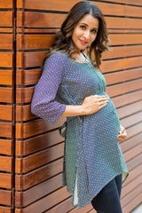 Geometrical Front Zip Maternity & Nursing Top