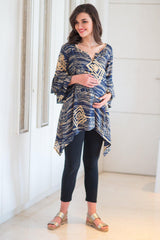 Abstract Indigo Maternity & Nursing Top - MOMZJOY.COM