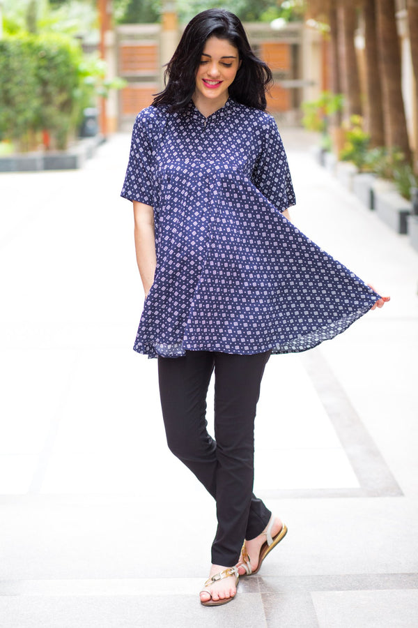 Navy Geo Flowing Maternity & Nursing Top - MOMZJOY.COM