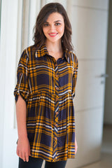 Mustard Plaid Viscose Maternity Shirt