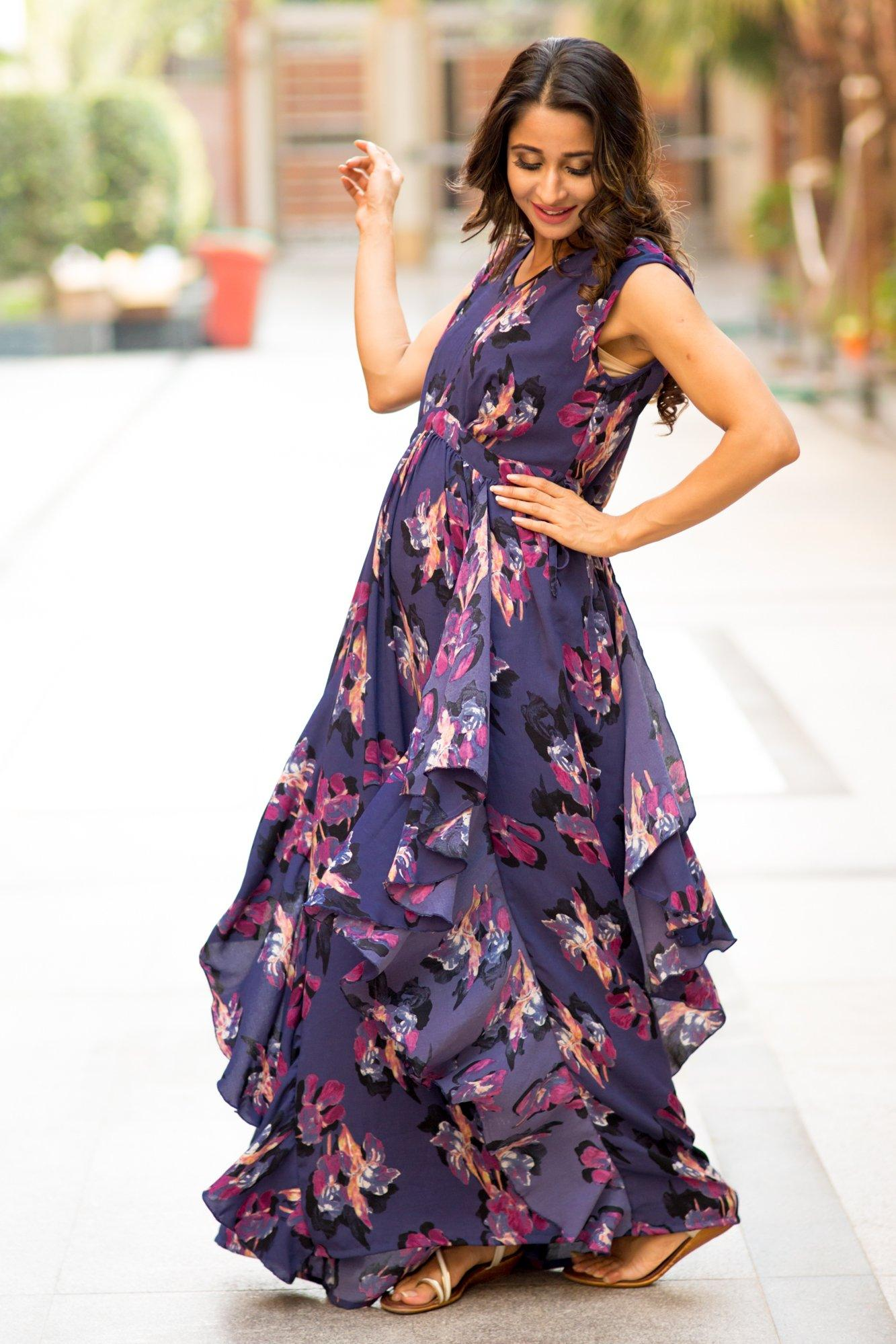 Buy online momzjoy maternity dresses pregnancy wear nursing clothes luxe violet floral moss maternity dress ombrellifo Images