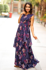 Luxe Violet Floral Moss Maternity Dress