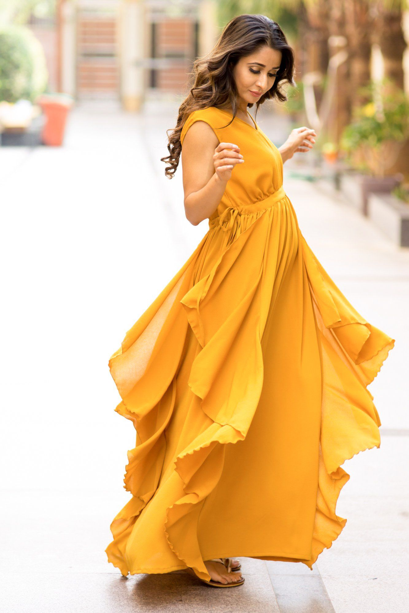 Luxe Mustard Yellow Moss Maternity Flow Dress
