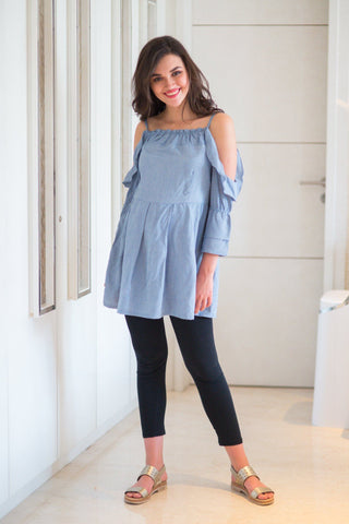 Cotton Denim Maternity Top
