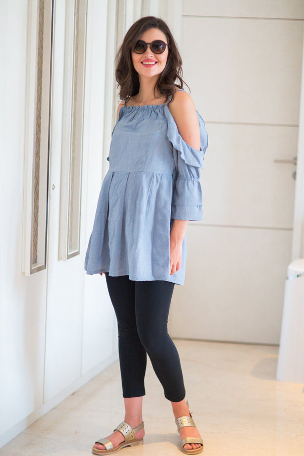 Cotton Denim Maternity Top - MOMZJOY.COM