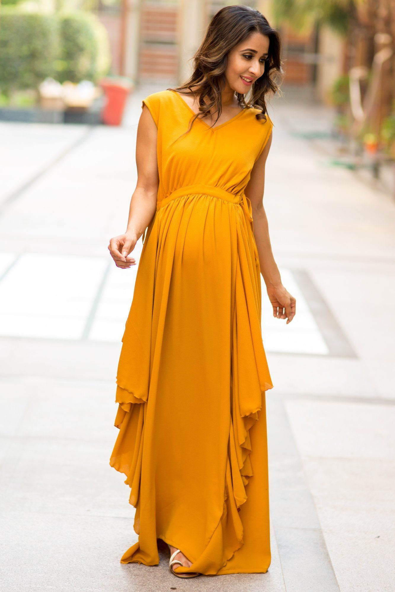 Buy online momzjoy maternity dresses pregnancy wear nursing clothes luxe mustard yellow moss crepe maternity dress ombrellifo Images