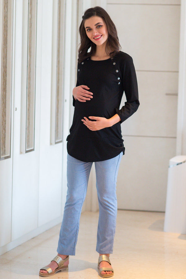Shoulder Poppers Longline Nursing Top